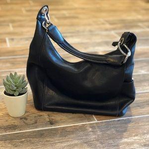 Longchamp | Black Sliver Leather Shoulder Bag